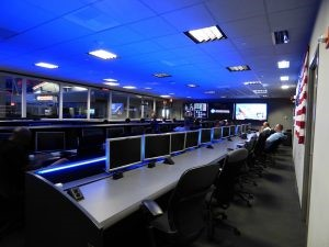 A large control center with a unified system for information sharing.